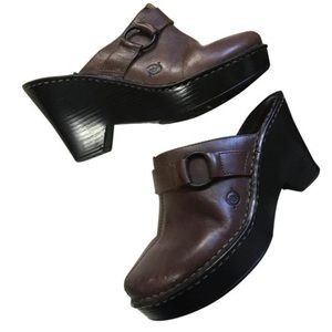 Born Dark Brown Leather Clog Boot Chunky Heels